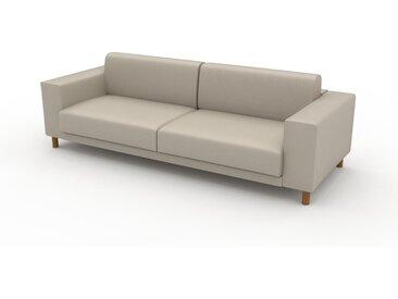 Canapé en cuir - Blanc crème Cuir Végan, lounge, esprit club ou cosy avec toucher chaleureux, 248x 75 x 98 cm, modulable