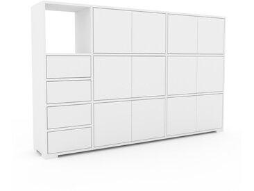 Meuble de rangements - Blanc, design, pour documents, avec porte Blanc et tiroir Blanc - 190 x 120 x 35 cm