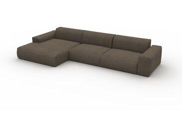 Canapé convertible Velours - Beige Crème, design arrondi, canapé lit confortable, moelleux et lit confortable - 370 x 72 x 168 cm, modulable