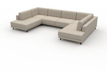 Canapé en U - Blanc Naturel, design épuré, canapé d'angle panoramique, grand et tendance, avec pieds - 348 x 75 x 214 cm, modulable