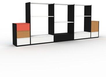 Système d'étagère - Noir, design, rangements, avec porte Chêne et tiroir Blanc - 303 x 118 x 35 cm