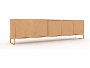 Buffet bas - Hêtre avec des pieds dorés, pièce de caractère, rangements bas de luxe, avec porte Hêtre - 195 x 53 x 35 cm, personnalisable