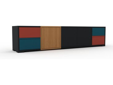 Enfilade - Noir, design, buffet, avec porte Noir et tiroir Bleu pétrole - 193 x 43 x 35 cm