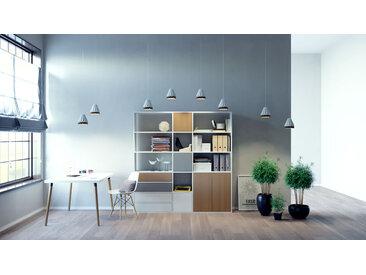Système d'étagère - blanc, design, rangements, avec porte chêne et tiroir blanc - 190 x 195 x 35 cm