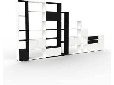 Système d'étagère - Blanc, design, rangements, avec porte Blanc et tiroir Noir - 455 x 235 x 35 cm