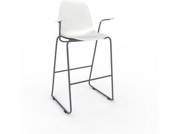 Chaise de bar blanc de 49 x 112 x 62 cm au design unique, configurable
