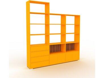 Bibliothèque - Jaune, design contemporain, avec porte Jaune et tiroir Jaune - 226 x 235 x 35 cm