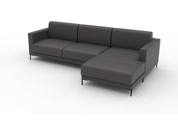 Canapé en cuir - Gris ardoise Cuir Aniline, lounge, esprit club ou cosy avec toucher chaleureux, 264x 75 x 162 cm, modulable