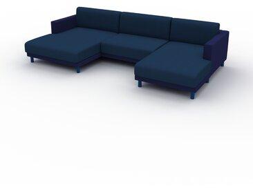 Canapé en U - Bleu Denim, design épuré, canapé d'angle panoramique, grand et tendance, avec pieds - 304 x 75 x 162 cm, modulable
