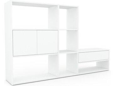 Bibliothèque - Blanc, design contemporain, avec porte Blanc et tiroir Blanc - 190 x 118 x 35 cm