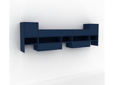 Étagère murale - Bleu, combinable, placard, avec porte Bleu et tiroir Bleu - 267 x 80 x 35 cm