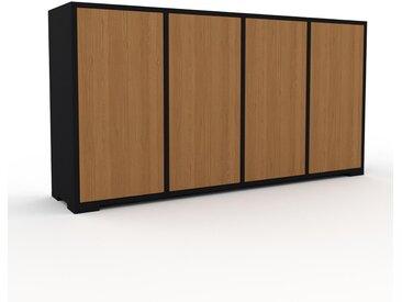 Enfilade - Noir, modèle de caractère, buffet, avec porte Chêne - 156 x 81 x 35 cm, modulable