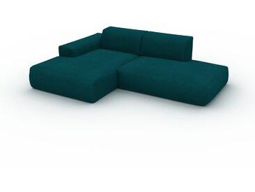 Canapé d'angle - Bleu Pétrole, design arrondi, canapé en L ou angle, confortable avec méridienne ou coin - 245 x 72 x 168 cm, modulable