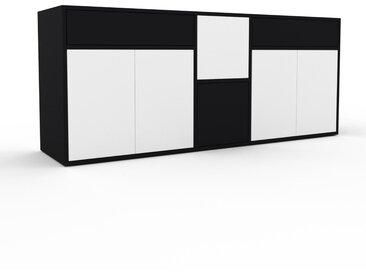 Commode - Blanc, moderne, raffinée, avec porte Blanc et tiroir Noir - 190 x 80 x 47 cm