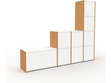 Système d'étagère - Chêne, modulable, rangements, avec porte Blanc - 193 x 158 x 35 cm