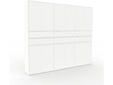 Placard - Blanc, moderne, rangements, avec porte Blanc et tiroir Blanc - 226 x 195 x 35 cm