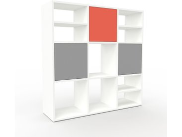 Buffet - Blanc, pièce modulable, enfilade, avec porte Gris - 118 x 118 x 35 cm