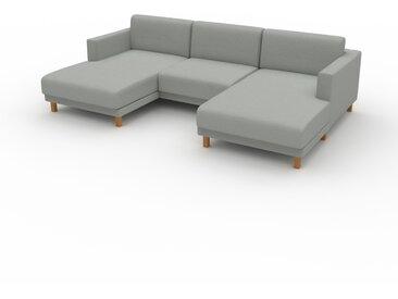 Canapé en U - Gris Clair, design épuré, canapé d'angle panoramique, grand et tendance, avec pieds - 264 x 75 x 162 cm, modulable