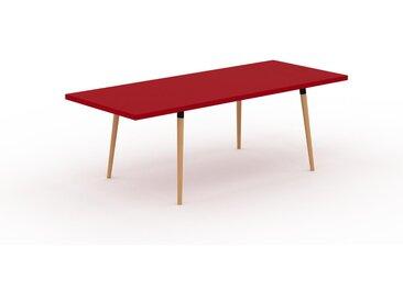 Table à manger - Rouge, design scandinave, pour salle à manger ou cuisine nordique, table extensible à rallonge - 220 x 75 x 90 cm