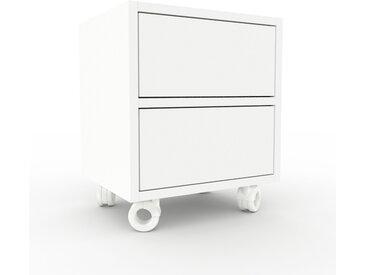 Table de chevet - Blanc, contemporaine, table de nuit, avec tiroir Blanc - 41 x 49 x 35 cm, modulable