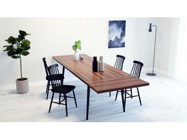 Table à manger - Noyer, design scandinave, pour salle à manger ou cuisine nordique, table extensible à rallonge - 200 x 75 x 90 cm
