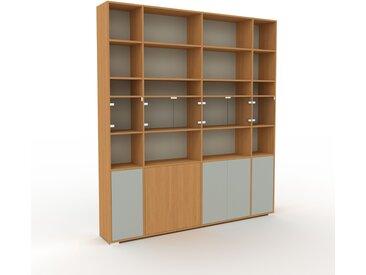 Vitrine - Gris sable, moderne, pour documents, avec porte Verre clair transparent - 229 x 254 x 35 cm, personnalisable