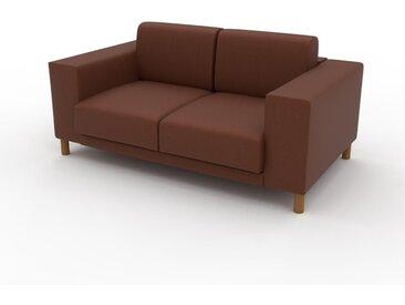 Canapé en cuir - Cognac Cuir Végan, lounge, esprit club ou cosy avec toucher chaleureux, 168x 75 x 98 cm, modulable