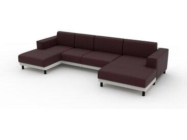 Canapé en cuir - Rouge bordeaux Cuir Pigmenté, lounge, esprit club ou cosy avec toucher chaleureux, 328x 75 x 162 cm, modulable