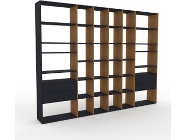Bibliothèque murale - Chêne, design flexible, étagère, avec tiroir Anthracite - 306 x 233 x 35 cm, configurable