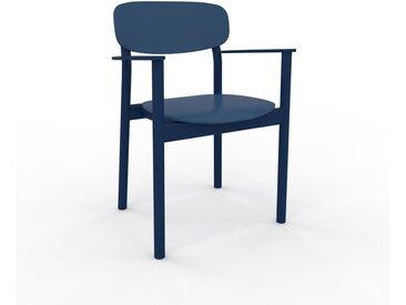 Chaise avec accoudoirs Bleu marine de 52 x 82 x 58 cm au design unique, configurable