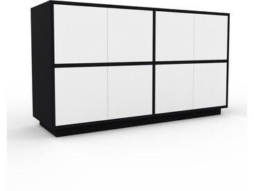 Meuble de rangements - Noir, moderne, pour documents, avec porte Blanc - 152 x 85 x 47 cm, personnalisable