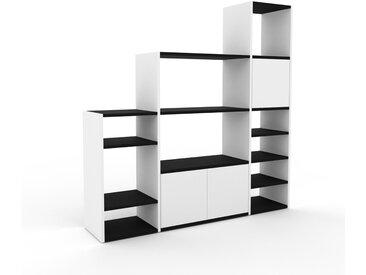 Système d'étagère - Blanc, modulable, rangements, avec porte Blanc - 154 x 157 x 35 cm