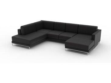 Canapé en cuir - Noir Cuir Aniline, lounge, esprit club ou cosy avec toucher chaleureux, 306x 75 x 214 cm, modulable
