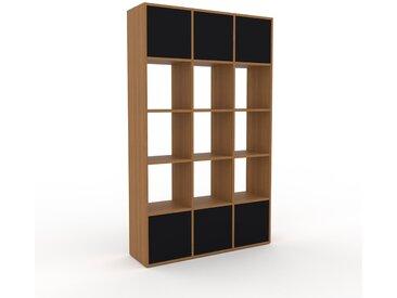 Range CD - Chêne, contemporain, meuble pour vinyles, DVD, avec porte Noir - 118 x 195 x 35 cm, modulable
