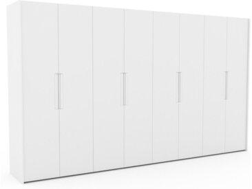 Dressing - Blanc, design, armoire penderie pour chambre ou entrée, à portes battantes - 404 x 233 x 62 cm, modulable