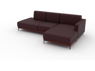 Canapé en cuir - Rouge bordeaux Cuir Pigmenté, lounge, esprit club ou cosy avec toucher chaleureux, 252x 75 x 162 cm, modulable