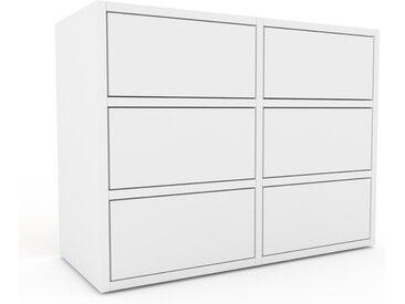 Caisson à roulette - Blanc, pièce modulable, rangement mobile, avec tiroir Blanc - 79 x 61 x 35 cm