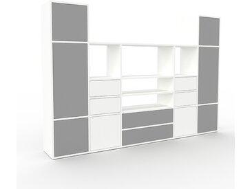 Placard - Blanc, moderne, rangements, avec porte Gris et tiroir Blanc - 231 x 157 x 35 cm
