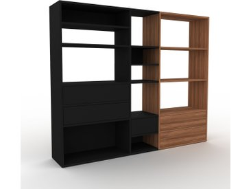 Bibliothèque - Noir, modèle tendance, rangements pour livres, avec tiroir Noir - 190 x 157 x 35 cm, modulable