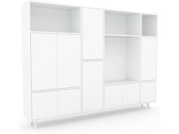 Meuble de rangements - Blanc, moderne, pour documents, avec porte Blanc - 229 x 168 x 35 cm, personnalisable