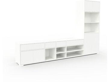 Bibliothèque murale - Blanc, combinable, étagère, avec porte Blanc et tiroir Blanc - 303 x 196 x 47 cm