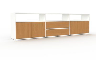 Buffet bas - Blanc, design contemporain, avec porte Chêne et tiroir Chêne - 226 x 61 x 35 cm