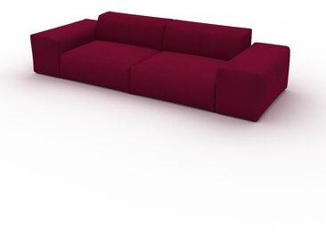 Canapé Velours - Rouge Mûre, forme arrondie, canapé bas et profond pour salon, en tissu sans pieds - 294 x 72 x 107 cm, modulable