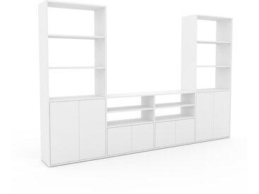 Bibliothèque murale - Blanc, modèle moderne, étagère, avec porte Blanc - 301 x 195 x 35 cm, modulable