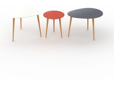 Tables basses gigognes - Anthracite, triangulaire/ronde/ovale, design scandinave, set de 3 tables basses - 59/40/67 x 50/44/47 x 61/40/50 cm