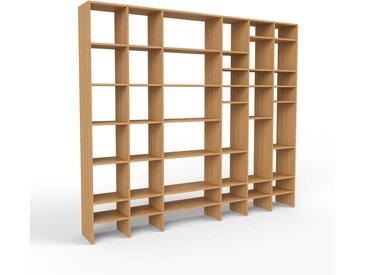 Système d'étagère en chêne, bois massif, design, rangements de qualité, pratique et flexible - 270 x 233 x 35 cm, personnalisable