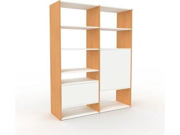 Système d'étagère - Hêtre, modulable, rangements, avec porte Blanc - 152 x 195 x 47 cm
