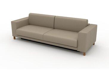 Canapé en cuir - Beige taupe Cuir Pigmenté, lounge, esprit club ou cosy avec toucher chaleureux, 248x 75 x 98 cm, modulable