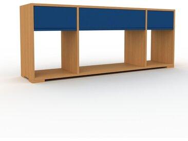 Range CD - Chêne, moderne, meuble pour vinyles, DVD, avec tiroir Bleu nuit - 154 x 62 x 35 cm, configurable