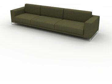 Canapé en cuir - Vert olive Cuir Nubuck, lounge, esprit club ou cosy avec toucher chaleureux, 328x 75 x 98 cm, modulable